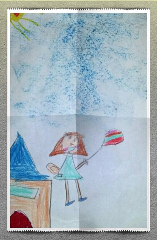 Montar en globo. Martina, 5 años.